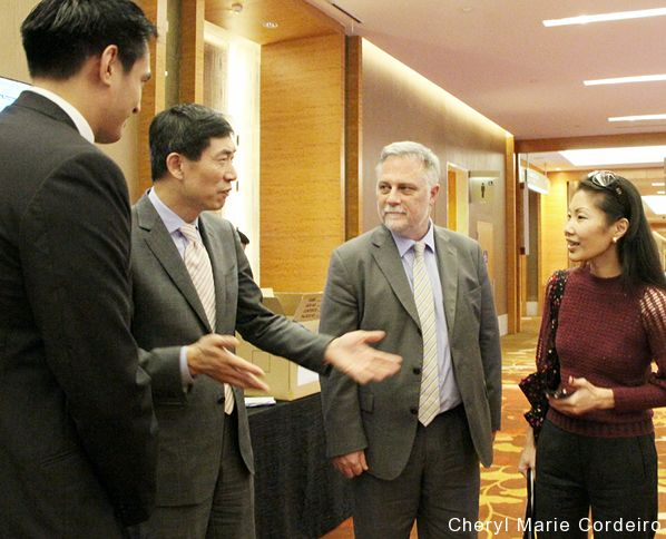 Responsible Business Forum (RBF) 2016, Marina Bay Sands, Singapore. L-R: Kevin Teng, Haoliang Xu, Tony Gourlay, Cheryl Marie Cordeiro.